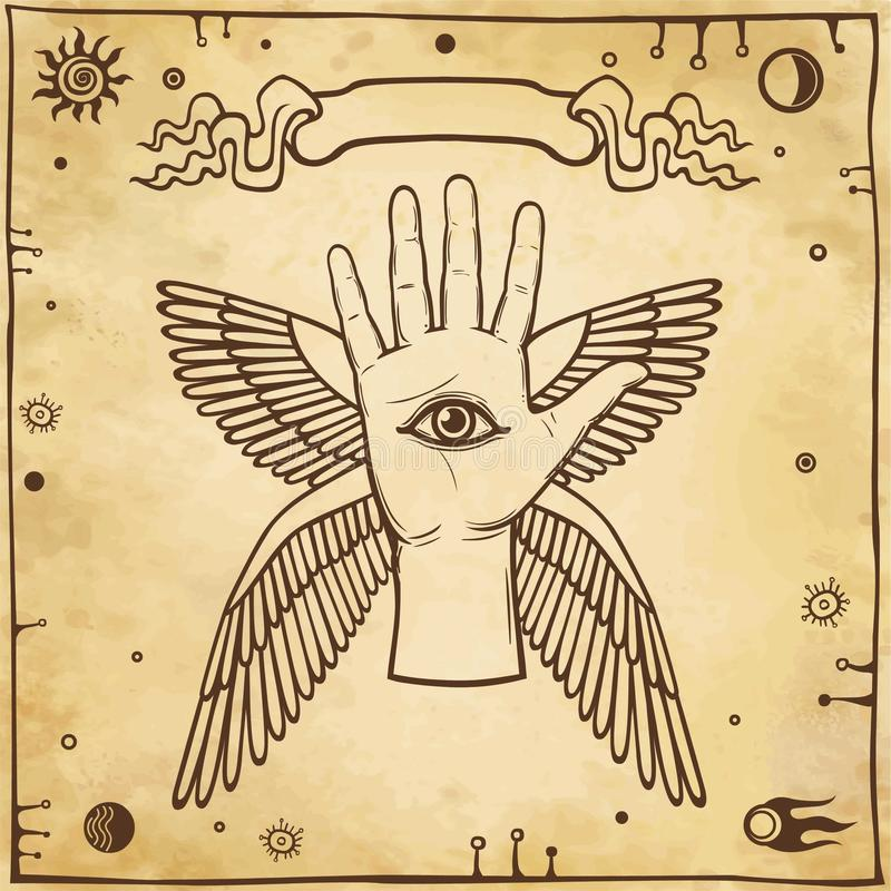 Mão voada do emblema ser humano místico Símbolo de um anjo ilustração do vetor