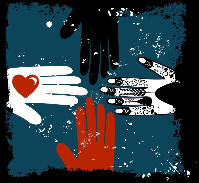 Mãos étnicas ilustração royalty free