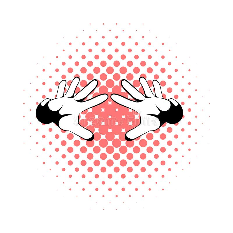 Mãos ícone dos mágicos, estilo da banda desenhada ilustração royalty free