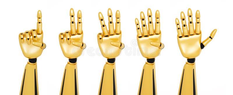 mãos 3d robóticos que mostram números ilustração stock
