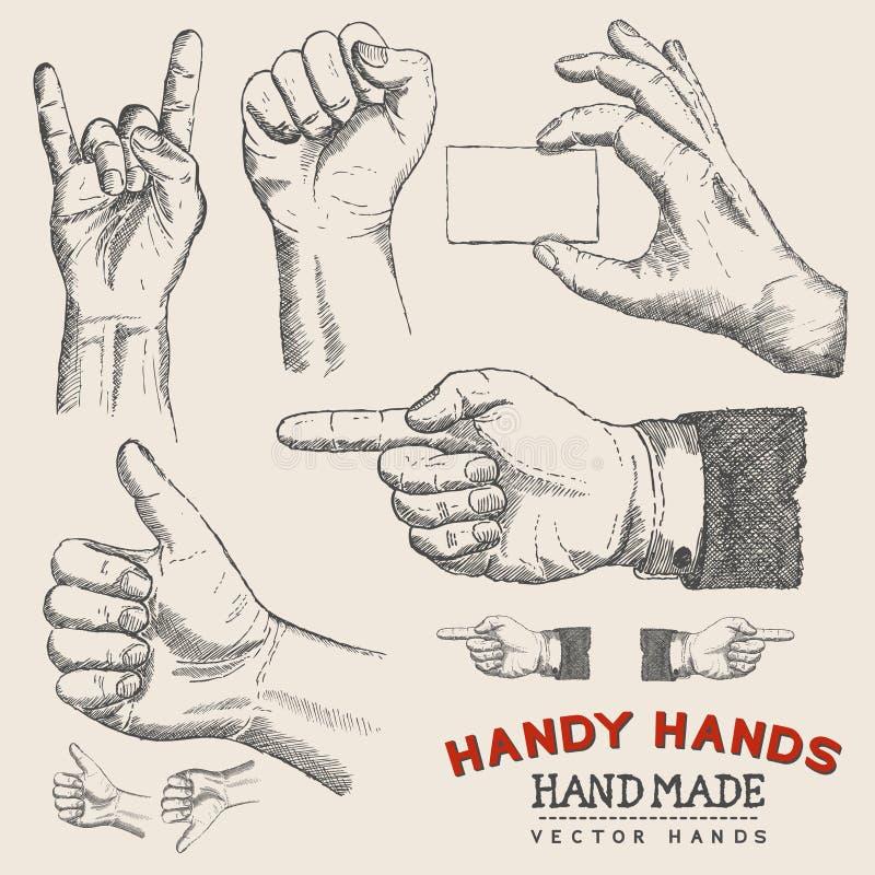 Mãos acessíveis - mãos do vetor ajustadas ilustração do vetor