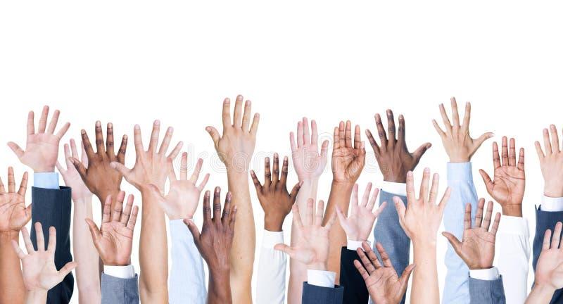 Mãos acima foto de stock