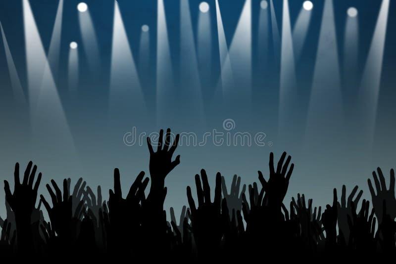 Mãos acima das silhuetas em um concerto ilustração royalty free
