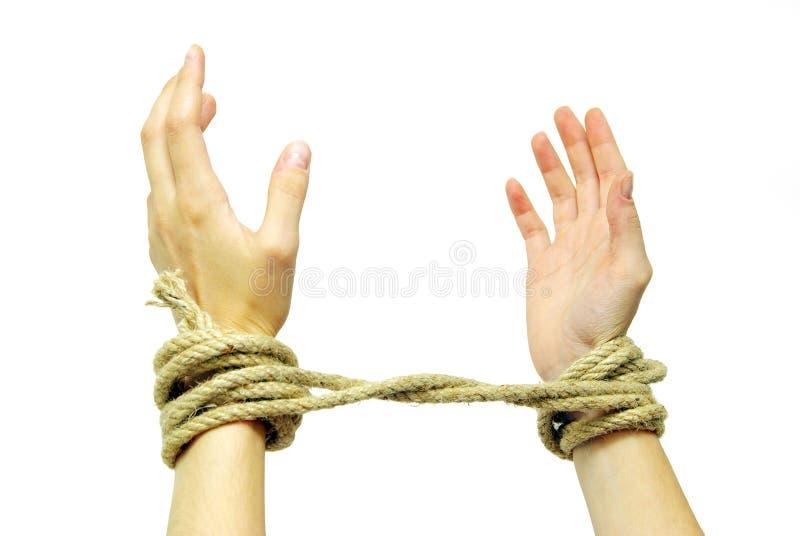 Mãos amarradas fotos de stock royalty free
