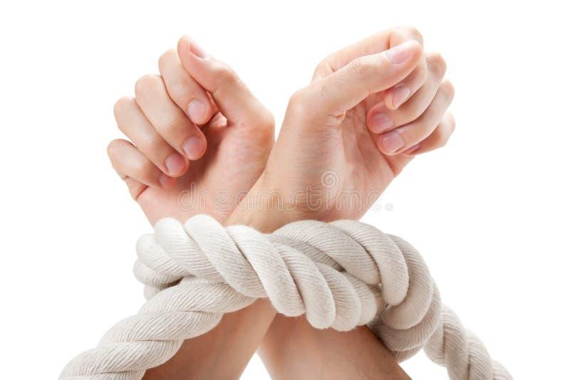 Mãos amarradas foto de stock