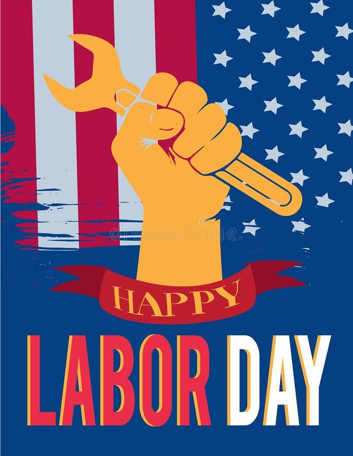 Mãos americanas do Dia do Trabalhador acima ilustração do vetor