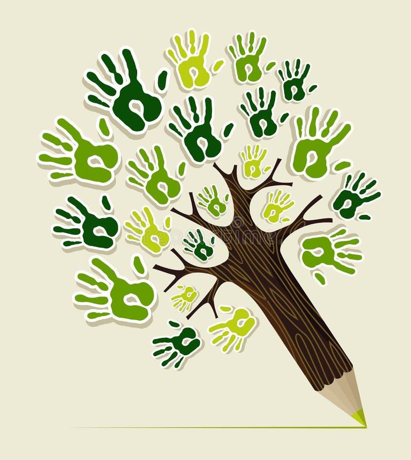 Mãos amigáveis da árvore do lápis de Eco ilustração stock