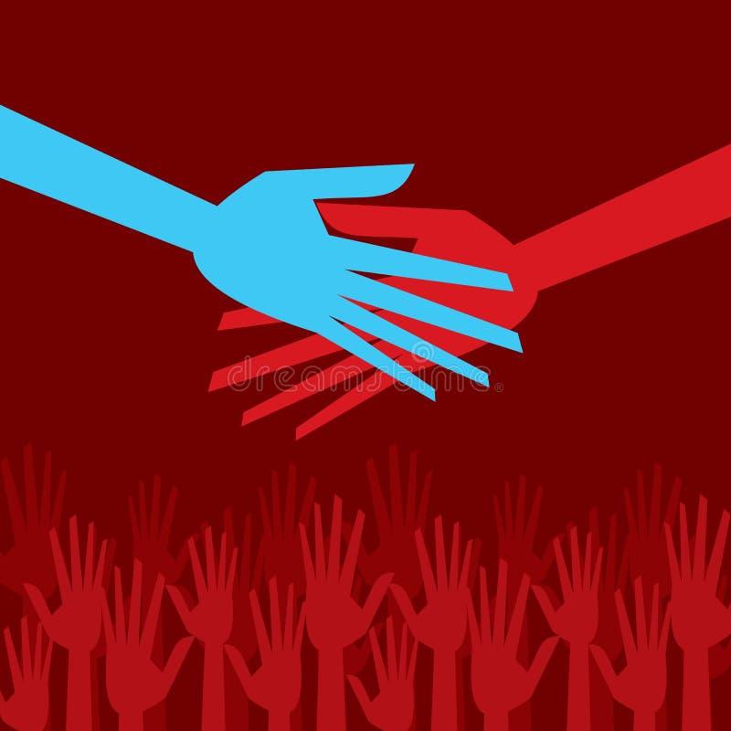 Mãos amiga coloridas ilustração do vetor