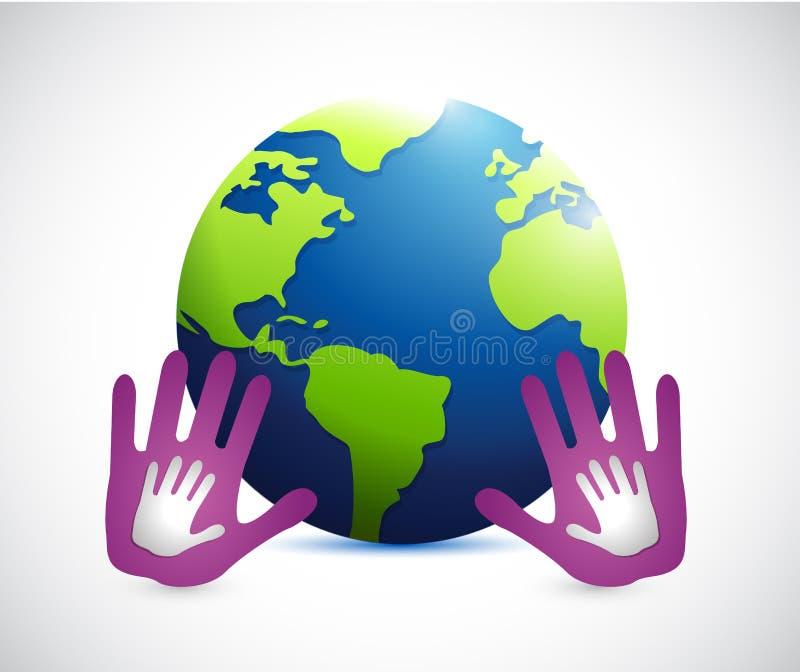 mãos ao redor do mundo Ilustração ilustração stock