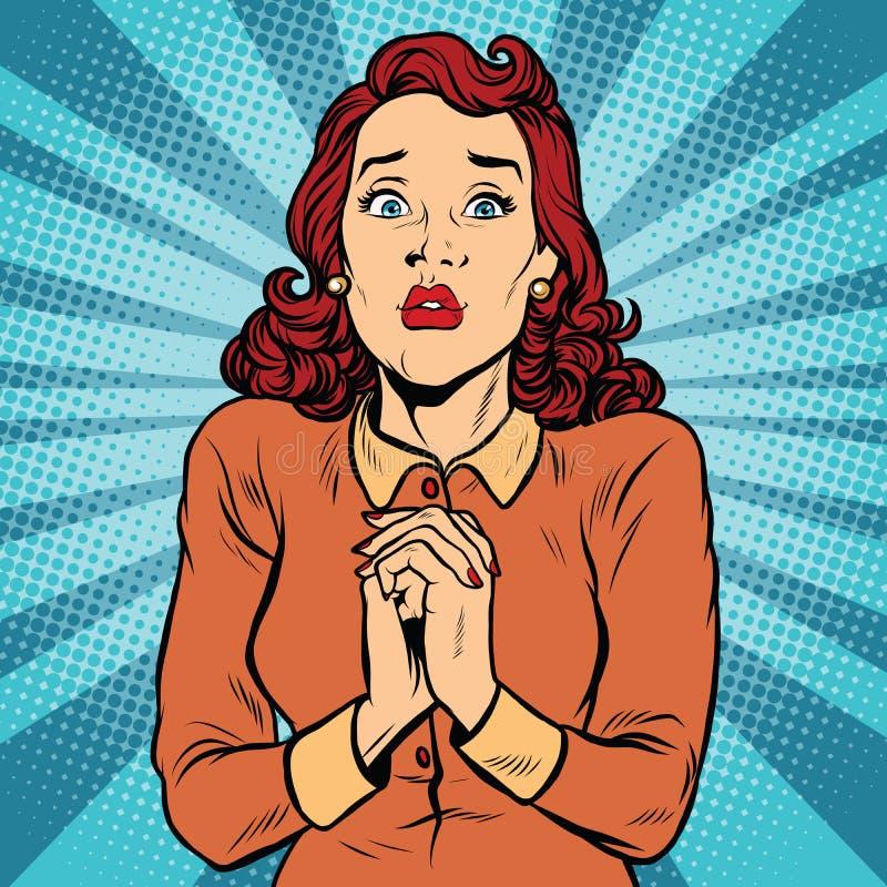Mãos assustado da mulher dobradas na oração ilustração do vetor