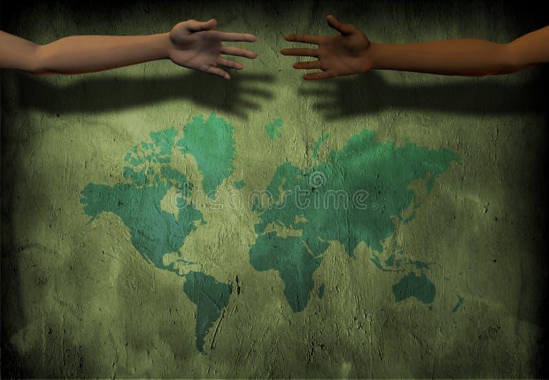 Mãos através do mundo ilustração stock