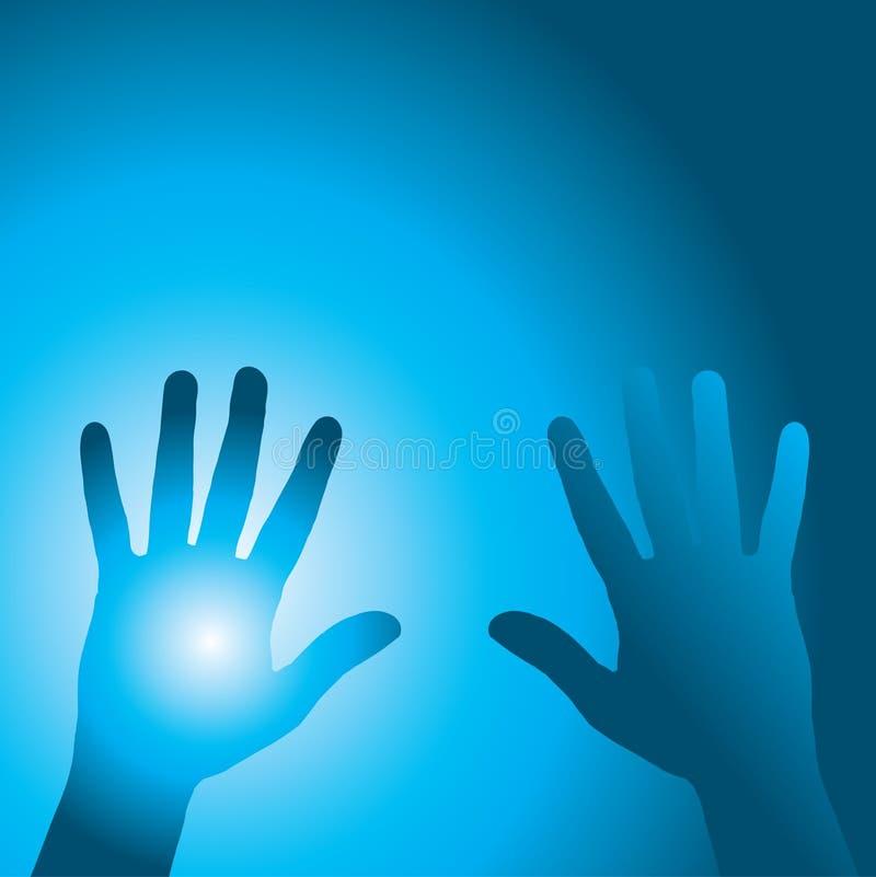 Mãos azuis ilustração do vetor