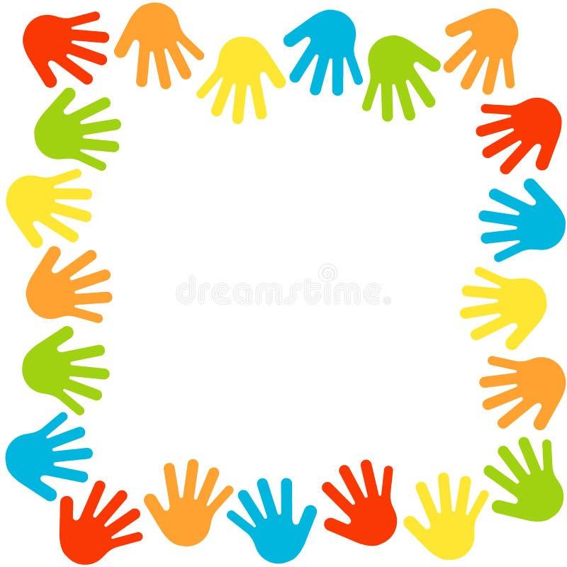 Mãos beira, quadro das palmas Handprints coloridos Símbolos da amizade, trabalhos de equipe Cópias das mãos das crianças na pintu ilustração stock