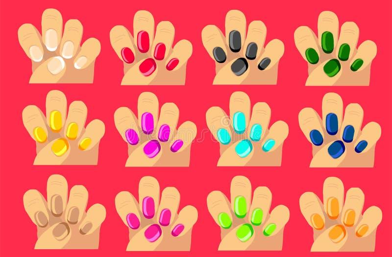 12 mãos bonitas com os pregos bonitos da cor ilustração stock