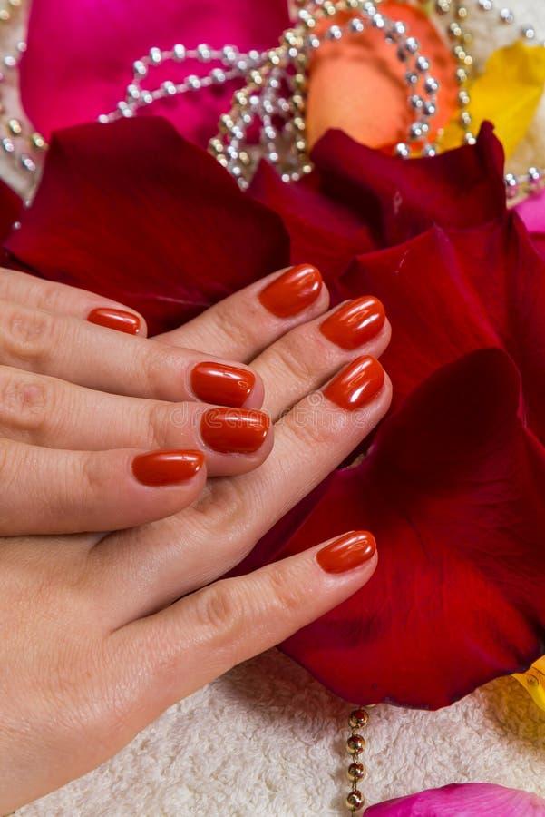 Mãos bonitas com um tratamento de mãos agradável imagem de stock royalty free