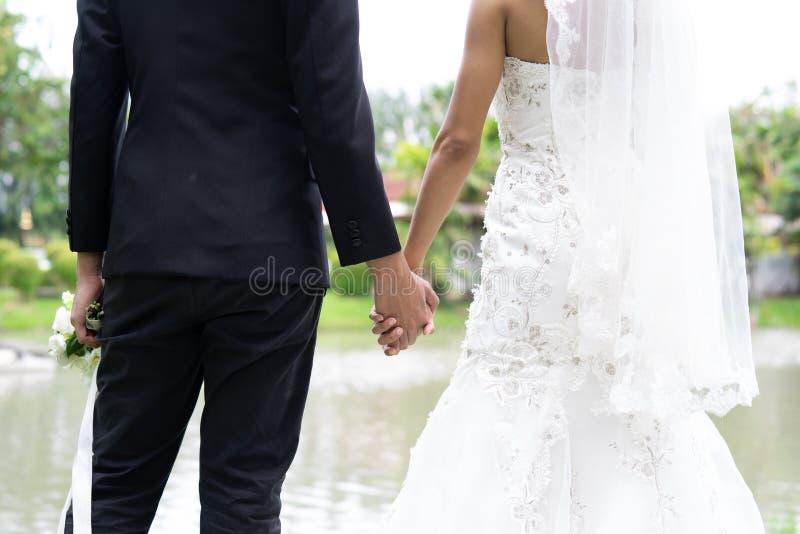 Mãos bonitas da posse dos noivos junto com o amor, casamento dos pares imagem de stock royalty free