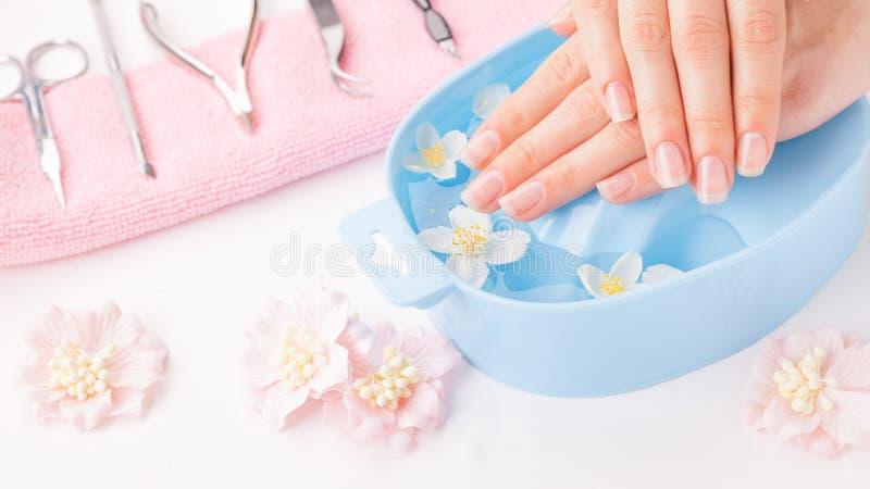Mãos bonitas do ` s da mulher com tratamento de mãos na bacia de água fotografia de stock royalty free