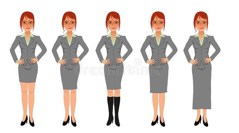 Mãos cinzentas do terno de saia da mulher de negócio do ruivo nos quadris ilustração royalty free