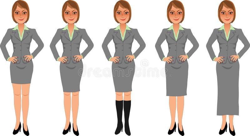Mãos cinzentas morenos do terno de saia da mulher de negócio nos quadris ilustração royalty free