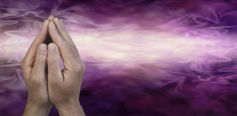 Mãos colocadas na posição da oração ilustração do vetor