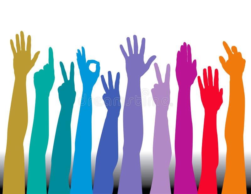 Mãos coloridas ilustração do vetor