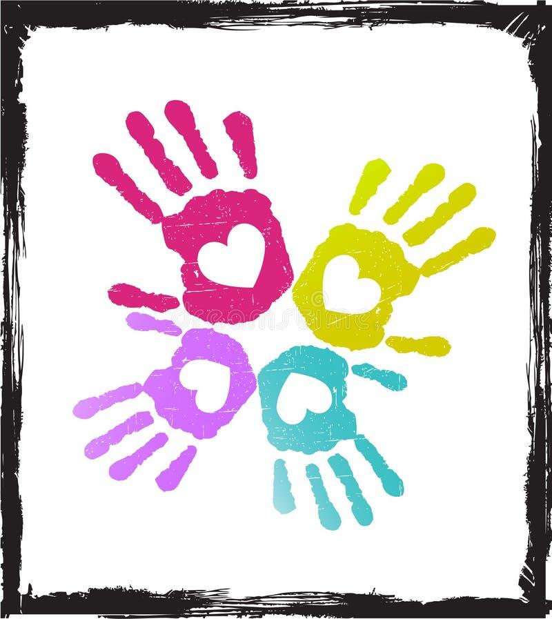 Mãos coloridas abstratas do amante   ilustração do vetor