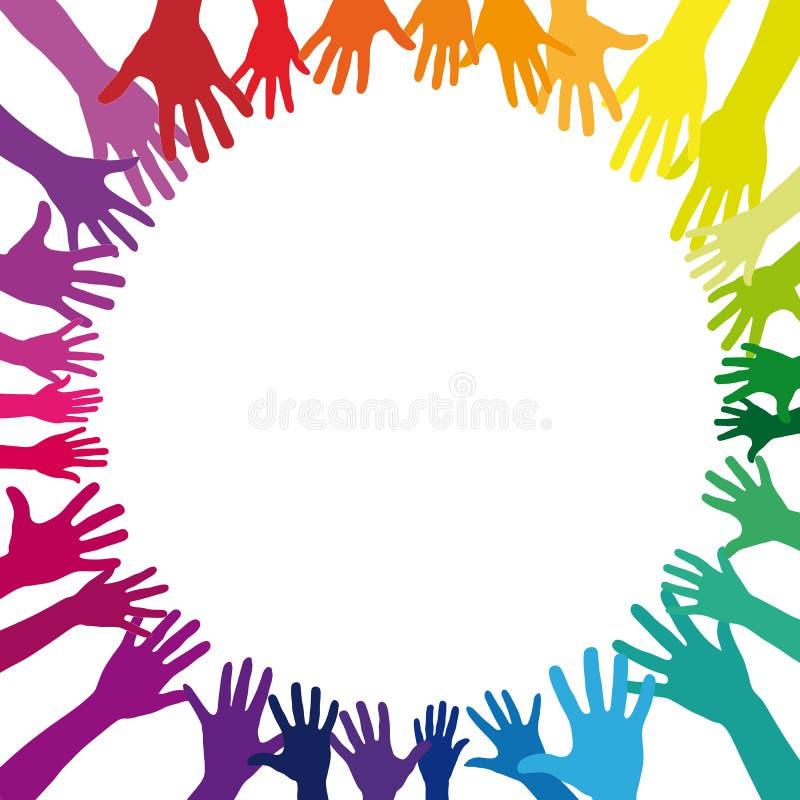 Mãos coloridas do arco-íris como um fundo ilustração do vetor