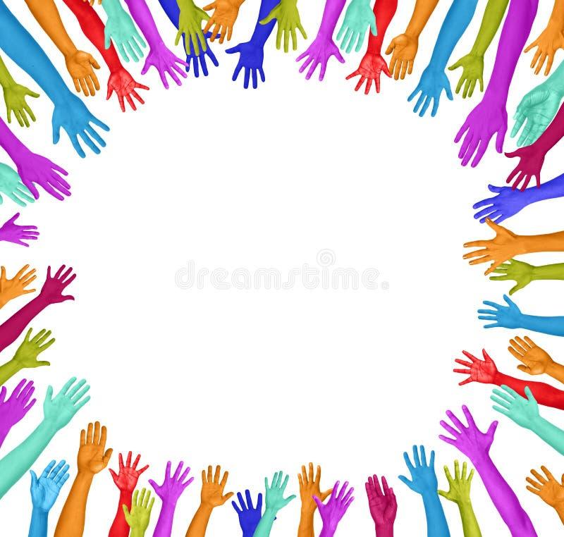 Mãos coloridas em um círculo ilustração royalty free
