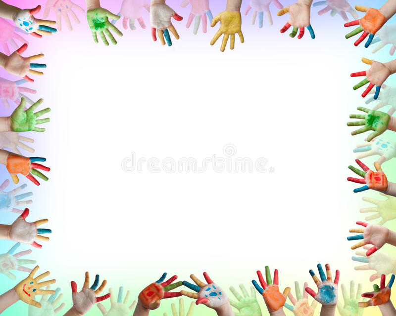 Mãos coloridas pintadas ilustração do vetor