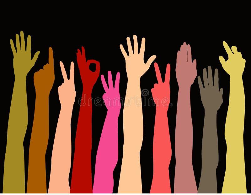 Mãos coloridas que alcangam acima ilustração do vetor