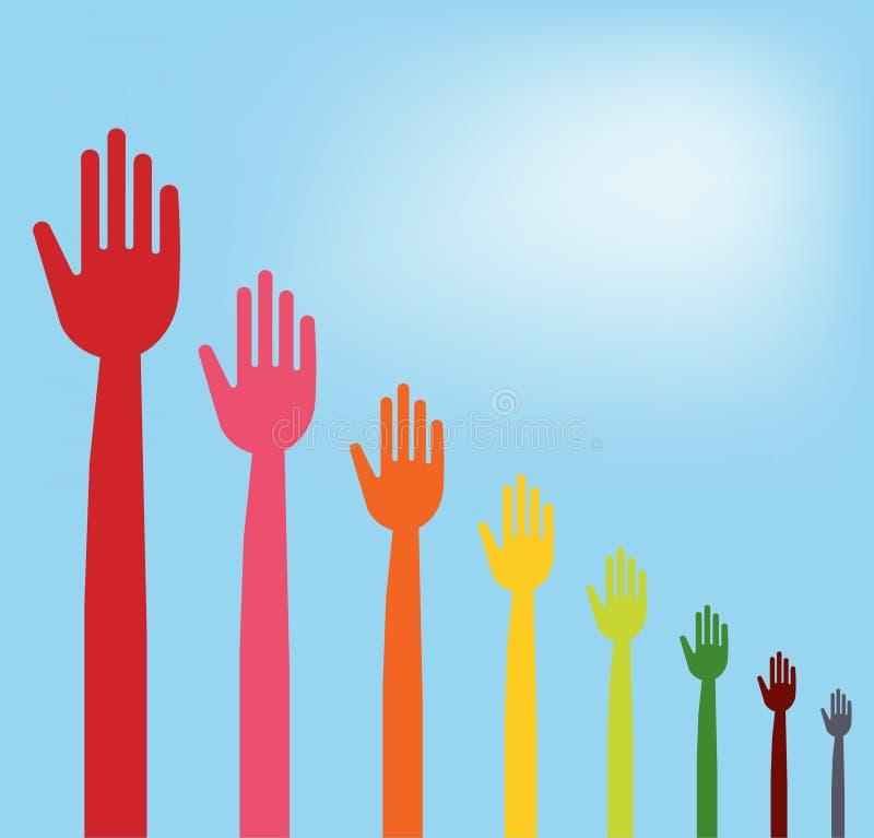 Mãos coloridas que descem o gráfico ilustração stock