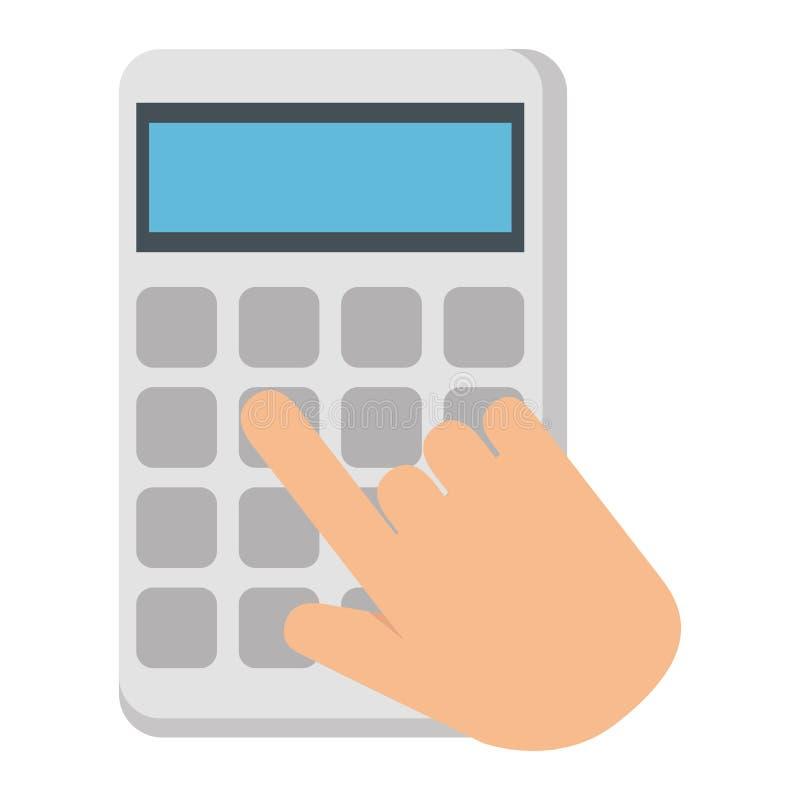 Mãos com ícone isolado matemática da calculadora ilustração royalty free