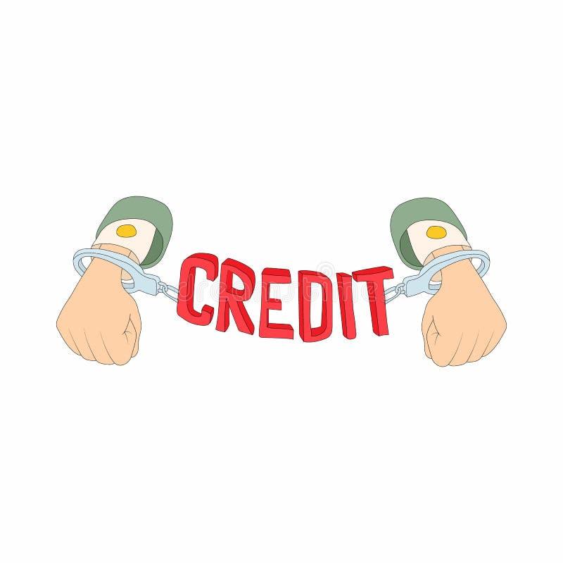 Mãos com algemas e ícone da rotulação do crédito ilustração do vetor