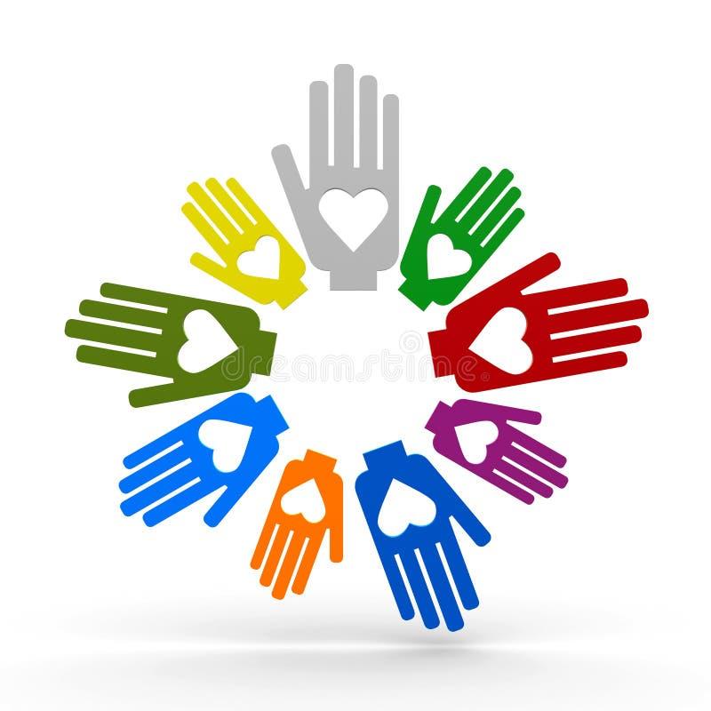 Mãos com amor no círculo ilustração royalty free