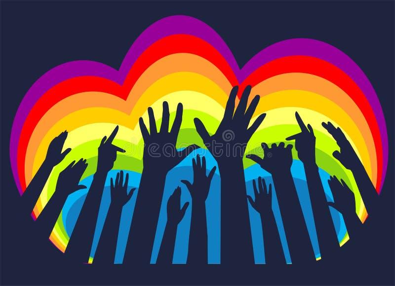 Mãos com arco-íris ilustração royalty free