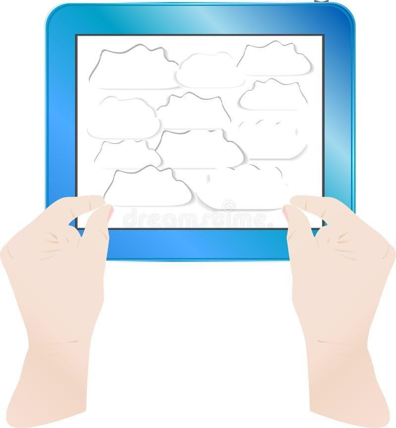 Mãos com bolhas no PC da tabuleta do computador. Vetor ilustração stock