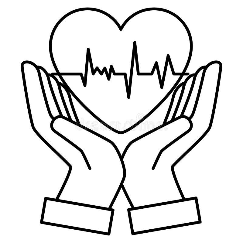 Mãos com cardiologia do coração ilustração do vetor