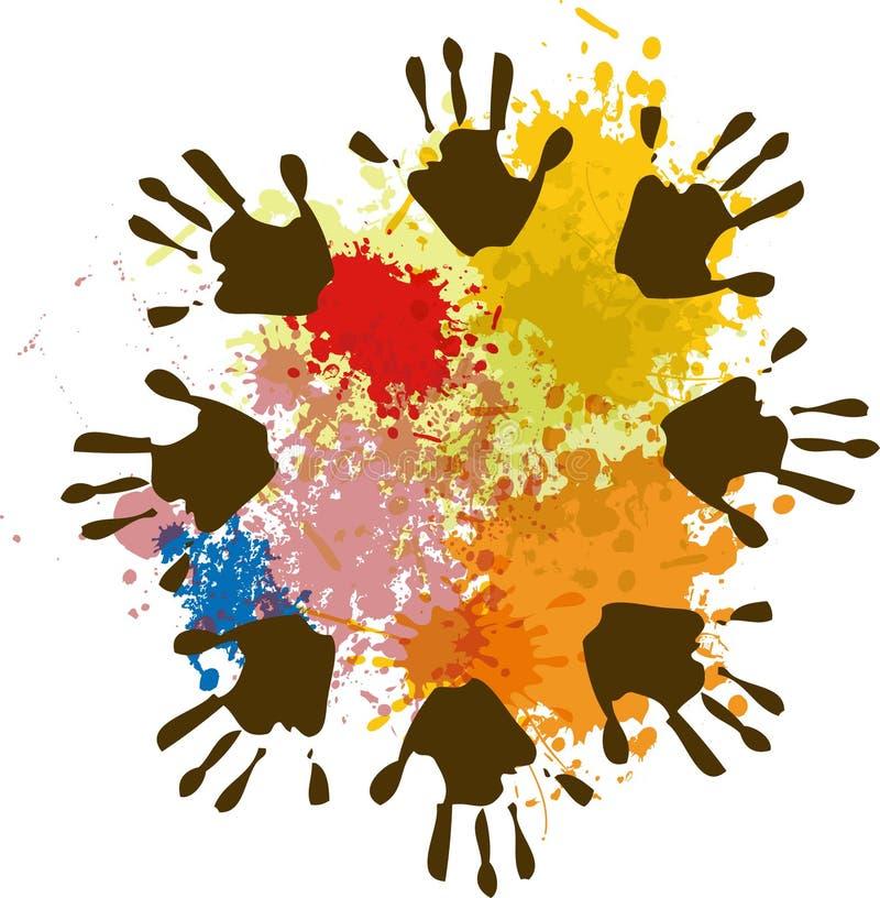 Mãos com cores ilustração royalty free