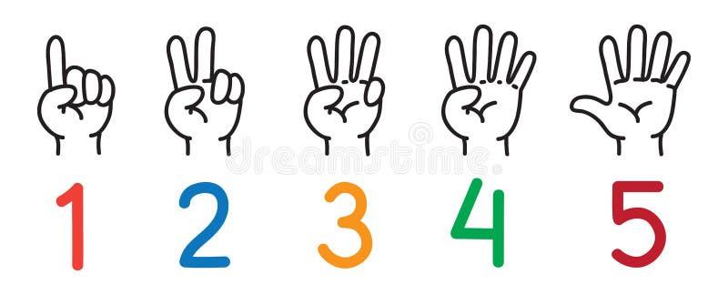 Mãos com dedos Ícone ajustado contando a educação ilustração do vetor