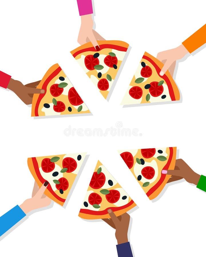 Mãos com fatias de pizza e de espaço vazio ilustração do vetor