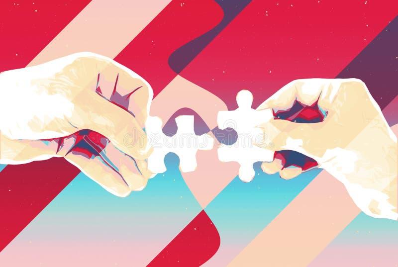 Mãos com fundo abstrato de duas partes do enigma, ilustração moderna para trabalhos de equipe, parceria, relacionamento, conexão  ilustração do vetor