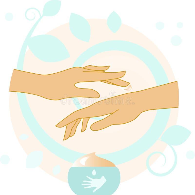 Mãos com ilustração de creme ilustração royalty free