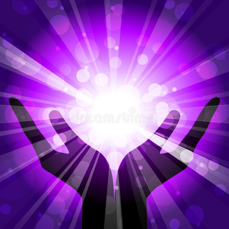 Mãos com luz ilustração royalty free