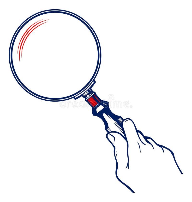 Mãos com Magnifier ilustração stock