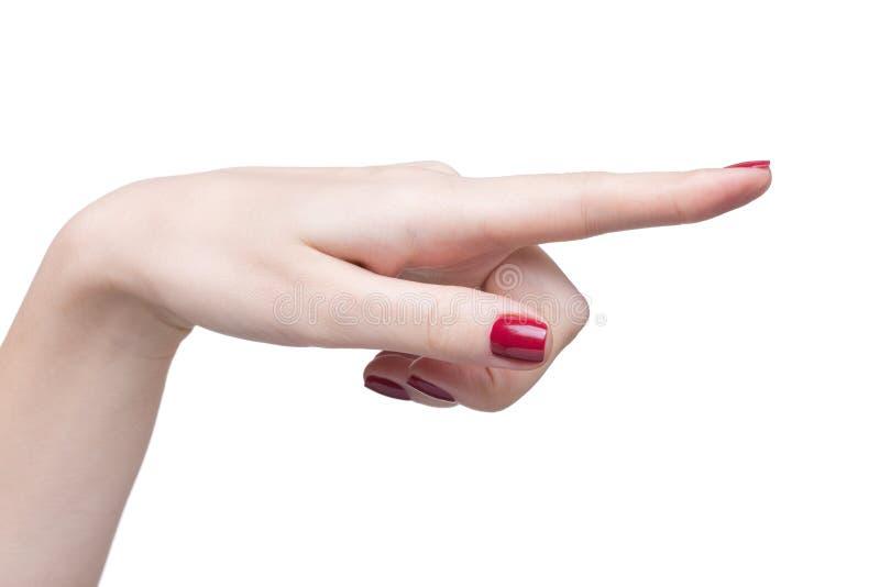 Mãos com manicure vermelho fotografia de stock
