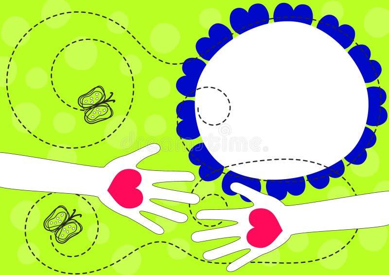 Mãos com o cartão do dia de mola dos corações ilustração royalty free