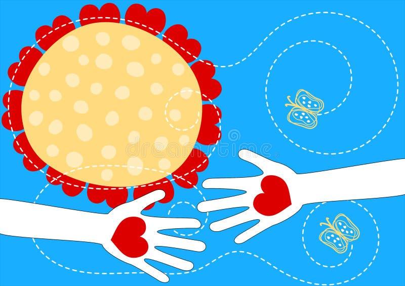 Mãos com o cartão do dia de Valentim dos corações ilustração royalty free