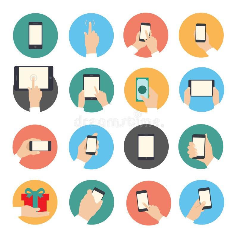 Mãos com os ícones do objeto ajustados imagens de stock