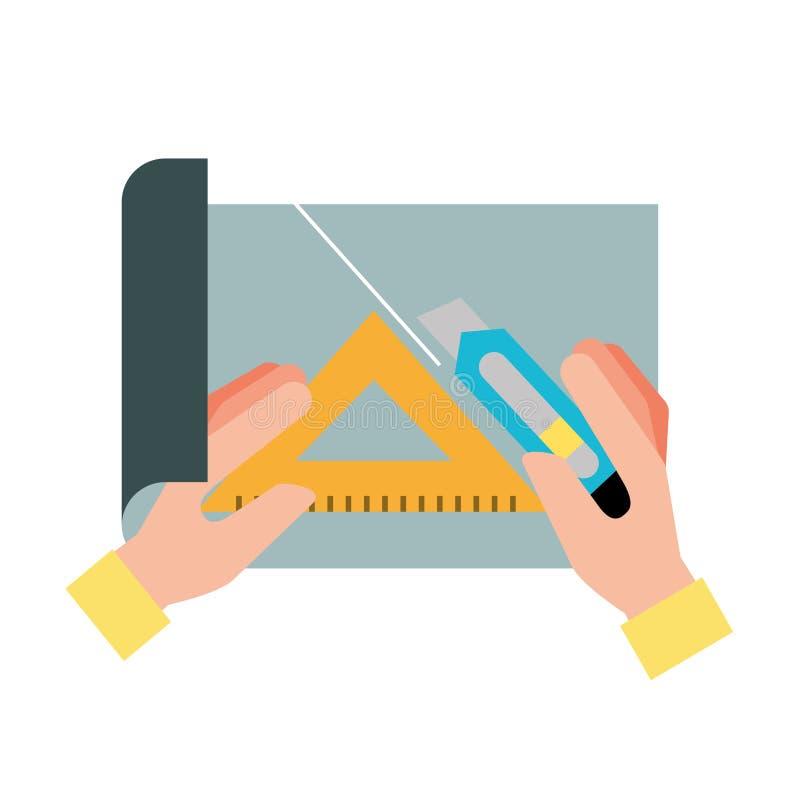 Mãos com papel do corte da régua do cortador e do triângulo ilustração stock