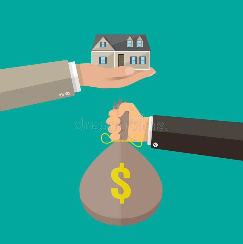 Mãos com saco e casa do dinheiro Casas dos bens imobiliários?, planos para a venda ou para o aluguel ilustração do vetor